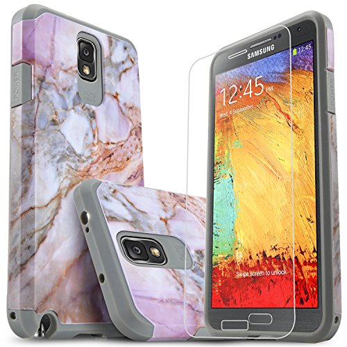 Galaxy Note 3 Case, Starshop [Shock Absorption] Dual Layers Impact Advanced Protective Cover with [Premium HD Screen Protector Included] for Samsung Galaxy Note 3 (Marble Pattern)