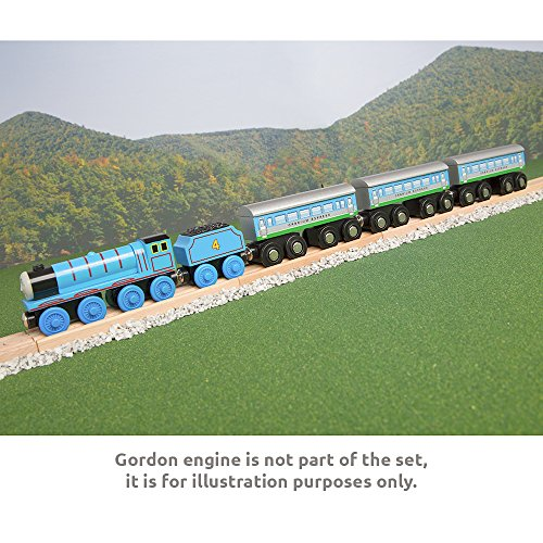 Orbrium Toys 3 Pcs Large Wooden Railway Express Coach Cars, Fits Thomas, Brio, Chuggington