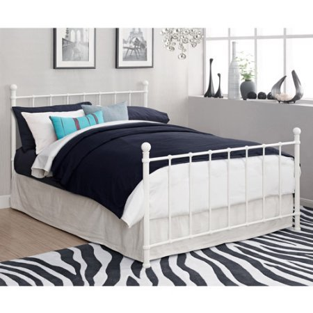 - Full Size Bed, White, 2 Base Height Options, Metal Slats, Headboard adn Footboard Included, Round Finial Posts, Metal, Bedroom Furniture, Bundle with Our Expert Guide with Tips for Home Arrangement
