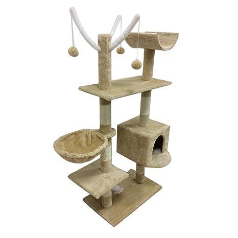 MAKPON Estantes para gatos con diseño de torre de gato y gato, 60 x 35