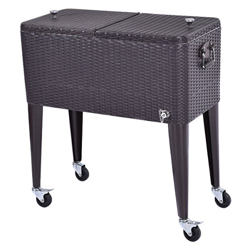 80 QT Contemporary Modern Elegant Outdoor Brown Rattan Portable Cooler Beverage Cart For Parties And Entertaining Holds Ice and Drinks