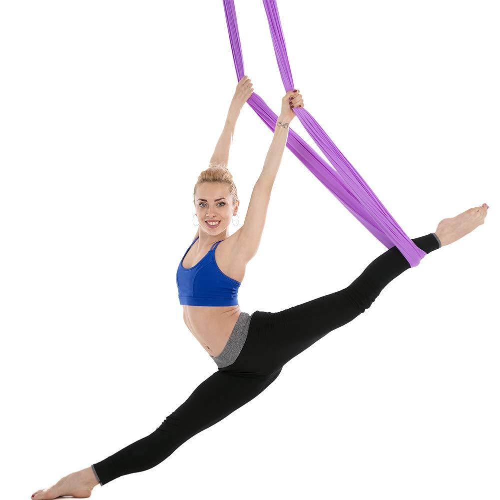 Full Set 4*2.8m High Strength Nylon Anti-gravity Yoga Hammock Swing Yoga Hanging Belt Home Gym Fitness Body Building Equipment Yoga Belts