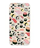 iPhone 7, Colorful Rubber Flexible Silicone Case Bumper for Apple Clear Cover - Sushi Pandemonium foodie