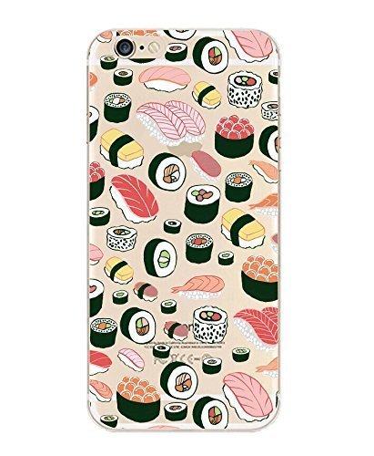 iPhone 8/7, Colorido de Goma Flexible funda de silicona Bumper para Apple cubierta transparente–Sushi Pandemonium...
