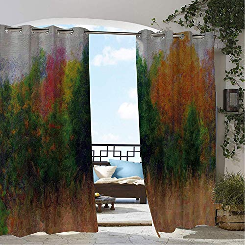 (Linhomedecor Gazebo Waterproof Curtains Abstract Watercolor Woods pergola Grommet Bathroom Curtain 72 by 72 inch)