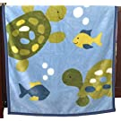 CoCaLo Turtle Reef Soft and Cozy Blanket, Aqua/Green