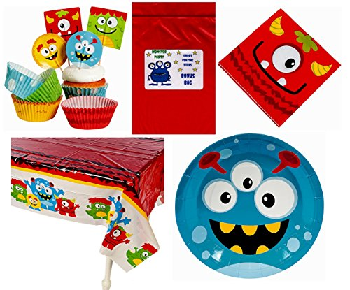Silly Monsters Kid's Birthday Party Decorations Tableware Bundle (1 Tablecover, 50 Cupcake Picks & Baking Cups, 16 Napkins, 8 Plates & Bonus Bag) by Multiple for $<!--$19.49-->