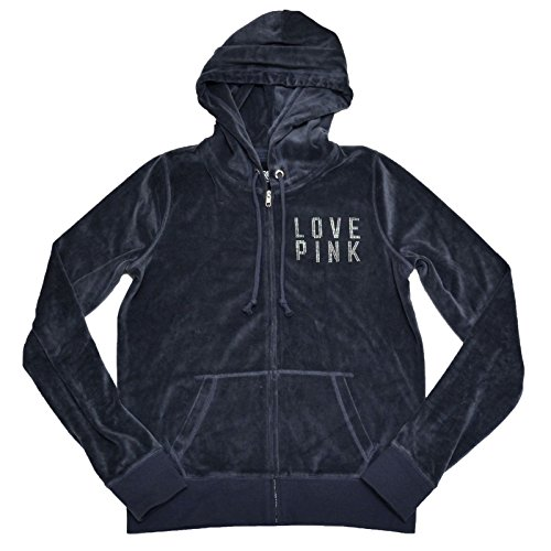 Victoria's Secret Pink Zip Up Velour Hoodie with Foil & Rhinestone Logo (Small, Gray) Pink Velour Hoodie