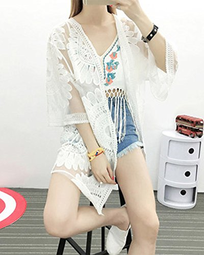 6e6f920a43b20b Quasten Strand Spitze Hohle Cover Weiß Cardigan Top Weiss Sommer ...