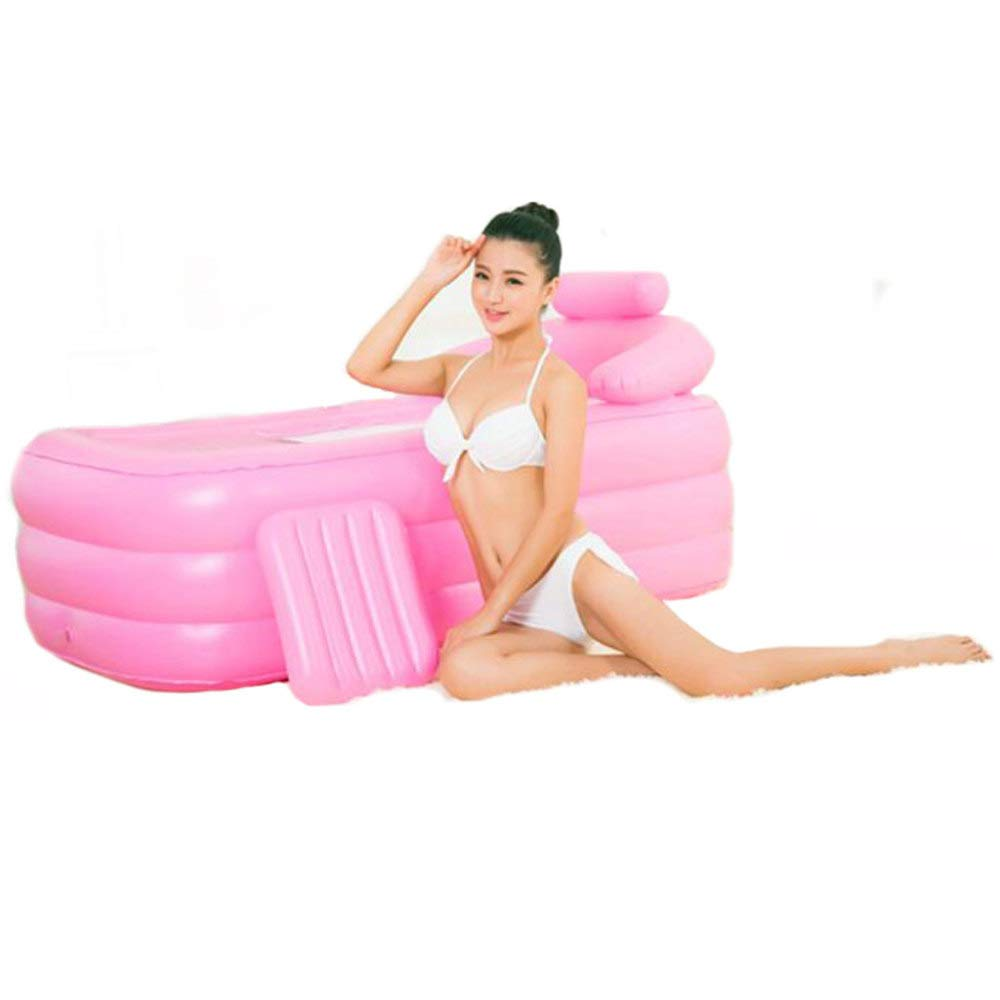 ZXDFG Baby Bathtub Inflatable PVC Foldable Tub Insulation Portable Folding Bath Thickened Bath Tub, Bath Barrel Plastic (Multicolor),Pink