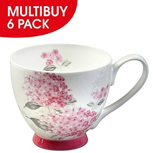 6 Footed Mugs (Portobello By Inspire Portobello Ami Pink Fine Bone China Footed Mug x 6)