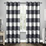 Kitchen Window Curtains Pottery Barn Exclusive Home Santa Monica Cabana Stripe Linen Grommet Top Window Curtain Panels, Indigo, 54