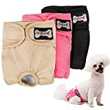 LOVABLEU Female Dog Diapers Large Pet Sanitary Pants Washable Menstrual Nappies Covers Physiological Trousers Pack of 3