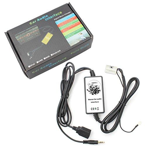 Amooca Car Digital Car USB Mp3 Player Interface AUX in Adapter Connect 3.5mm for VW 12pin 2009-2011 Beetle 2003-2011 Jetta 2004-2011 Passat 2005-2011 Polo 2007-2011 Tiguan Skoda 2007-2011 Octavia