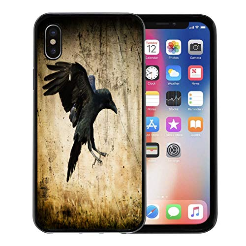 Semtomn Phone Case for Apple iPhone Xs case,Landing Black Raven Corvus Corax in Moonlight Scary Creepy Gothic Setting Cloudy Night Halloween Old for iPhone X Case,Rubber Border Protective Case,Black ()