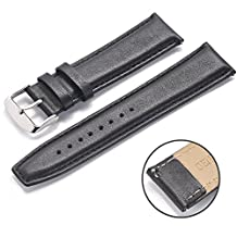 Motorola MOTO 360 2 Leather Band Strap - Rerii 22mm Width Black Genuine Smooth Leather Band Strap with Quick-Release Pins for Motorola MOTO 360 2nd Gen Smart Watch 46mm