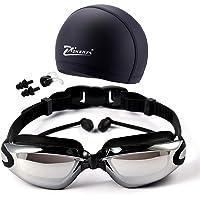 Gafas de natación 5 en 1 + Gorro de natación + Clip de nariz + Tapones para los oídos + Estuche, Resistente al agua, Sin fugas, Antiniebla, Protección UV, Estuche de protección gratuito, Ajuste cómodo para adultos Hombres Mujeres Jóvenes Niños Niño