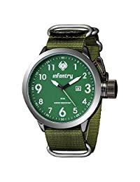 INFANTRY Men's Green Military Sports Watch Analog Date Quartz Nylon Band