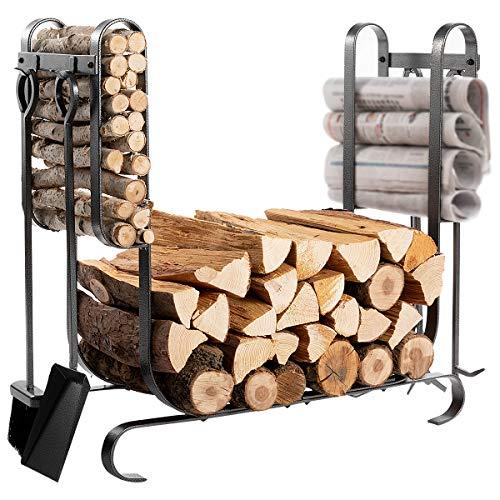 DOEWORKS Firewood Rack with 4 Tools Include Brush, Shovel, Poker&Tongs Firm Firewood Storage Log Holder for ()