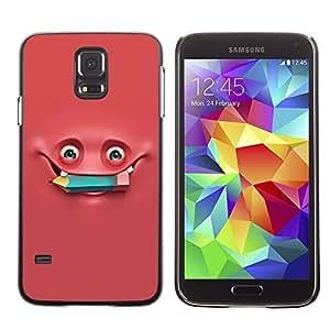 TopCaseStore / la caja del caucho duro de la cubierta de protección de la piel - Pink Monster Pencil Studying - Samsung Galaxy S5 SM-G900