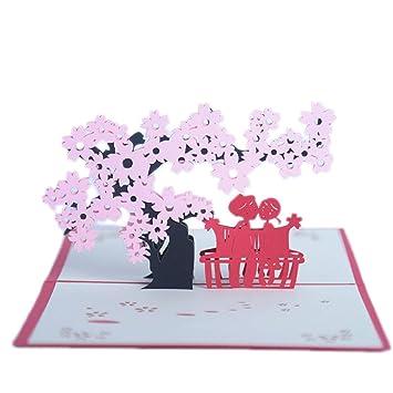 SHZJZ Tarjeta de felicitación estéreo 3D Flor de Cerezo ...