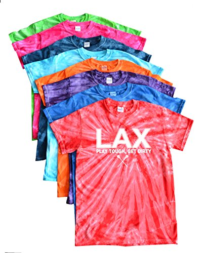 Tough Logo Tee (Lacrosse Tie Dye T-Shirt - LAX Play Tough Get Dirty Logo (Royal, M))