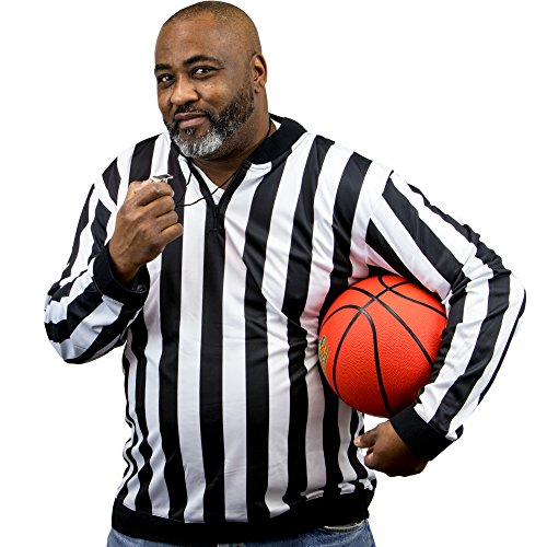 Crown Sporting Goods Men's Official Striped Referee Shirt | Umpire Ref Long Sleeve Jersey Uniform | Great Youth Amateur Sports Reffing Basketball, Football, Soccer More | Comfortable Cool (X-Large)