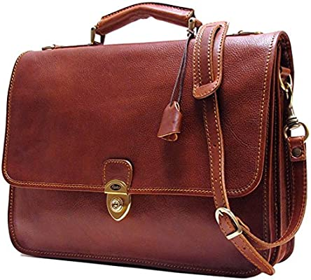7e722bbf8ab0 Floto Mens Custom Initials Personalization Leather Messenger Briefcase  Brown Italian Calfskin Leather