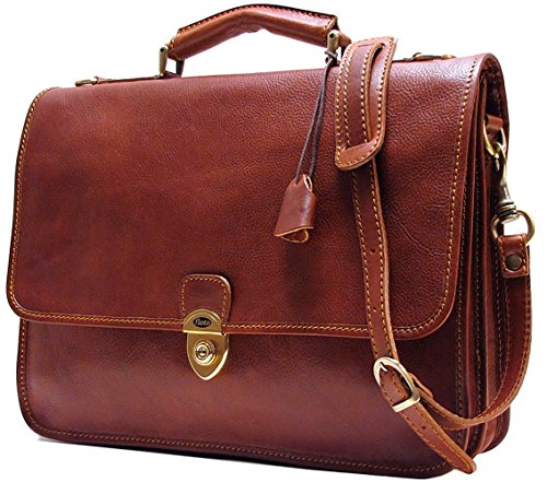 (Floto Mens Custom Initials Personalization Leather Messenger Briefcase Brown Italian Calfskin Leather)