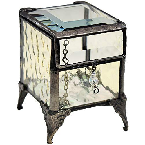J Devlin Box 649-2 Antique Yellow Stained Glass Jewelry Keepsake Box Trinket Box