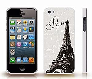 iStar Cases? iPhone 5/5S Case with Eiffel Tower Photostamp, Paris Text on Grey Background with Physics Formulas , Snap-on Cover, Hard Carrying Case (White)