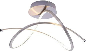 Design LED Decken Leuchte Schlaf Gäste Zimmer Lampe Chrom Ring Strahler gebogen