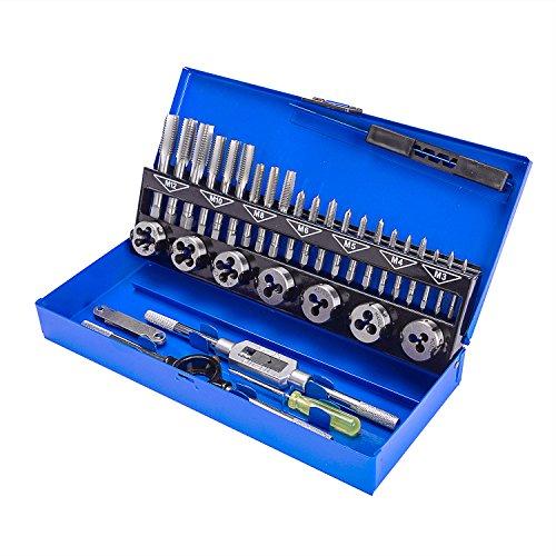 Frantikon 32-Piece Metric Tap & Die Set Screw Thread Drill Kit Pitch Gauge (Metal Case)