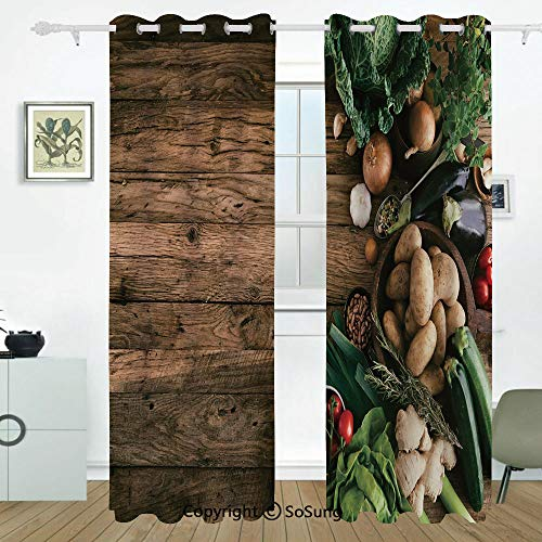 Harvest Grommet Blackout Window,Various Vegetables on Rustic Wooden Table Onions Potatoes Zucchini Cherry Tomatoes Decorative,for Bedroom&Living Room&Patio Sliding Doors,2 Panels Set,108 X 96 Inches,B