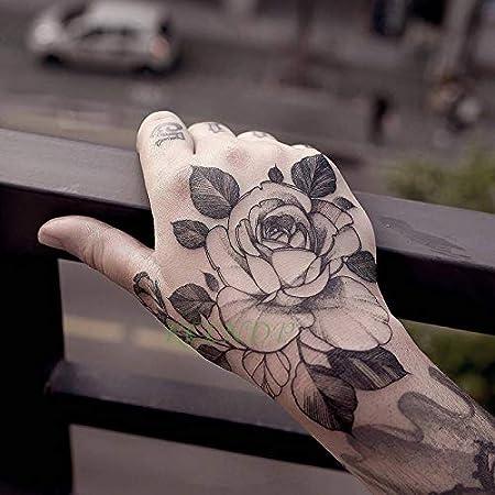 tzxdbh 3pcs-Tatuajes temporales Tatuajes temporales Flor Rosa Mano ...