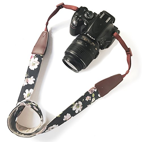 Womens Photographer Black Leather (Camera Neck Shoulder Belt Strap,Alled Leather Vintage Print Soft Camera Straps for Women /Men for DSLR / SLR / Nikon / Canon / Sony / Olympus / Samsung / Pentax (Leather Black Print Pink Flower))