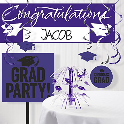 Graduation School Spirit Purple Decorations Kit