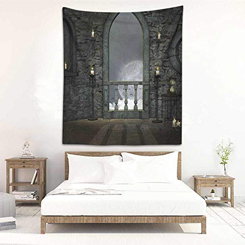 DIY Tapestry Gothic Decor Full Moon Birds Fairytale Fantasy Old Castle Balcony Candle Lights Night View Art Occlusion Cloth Painting 19