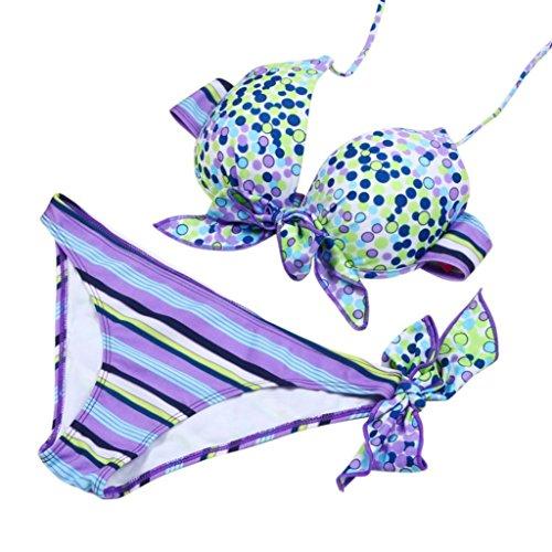 NewKelly Sexy Bikini Strips Bandage Swim Swimwear Beachwear Women Bikini (Purple, (Purple Floral Bikini)