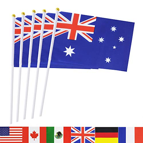 TSMD Australia Stick Flag, 50 Pack Hand Held Small Australian National Flags On Stick,International World Country Stick Flags Banners,Party Decorations for World Cup,Sports Clubs,Festival Events