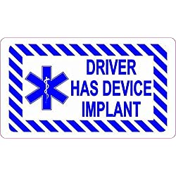StickerTalk 3.5in x 2in Driver Has Device Implant Magnet Magnetic Vehicle Sign by