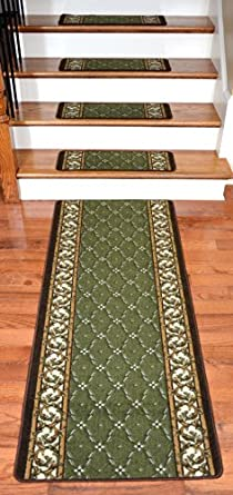 Dean Washable Non Skid Carpet Stair Treads Trellis Green