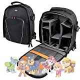 Premium Quality, Black Water-Resistant Backpack with Customizable Interior & Raincover for Paw Patrol Toys / Action Pack / Rescue Racers - By DURAGADGET