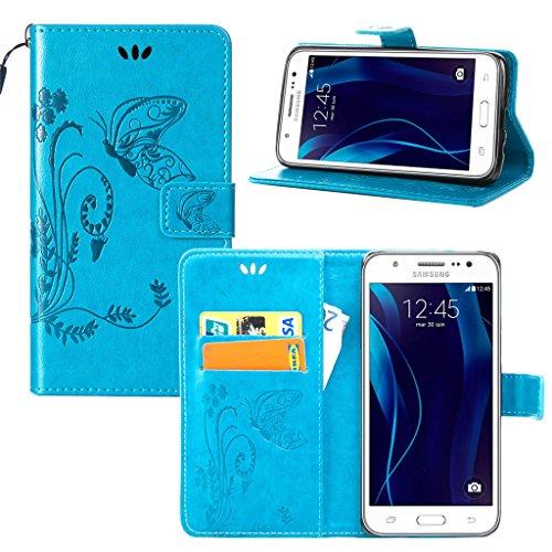 Erdong® Magnético Folio Flip Caso Con pata de cabra titular de la tarjeta Para Samsung Galaxy J5 (2015) J500FN, Elegant Simple Book-style [Azul flor de mariposa] patrón de impresión cuero del soporte