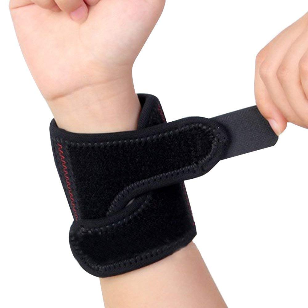 Denshine Wrist Wraps Professional Sports Spring Wristband Strap Compression Wrist Support Braces for Powerlifting, Bodybuilding, Weight Training, Women & Men, Black