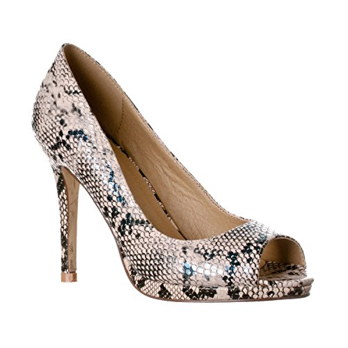 Riverberry Women's Julia Slight Platform Open Toe High Heel Pumps, Beige Python, - Animals Python