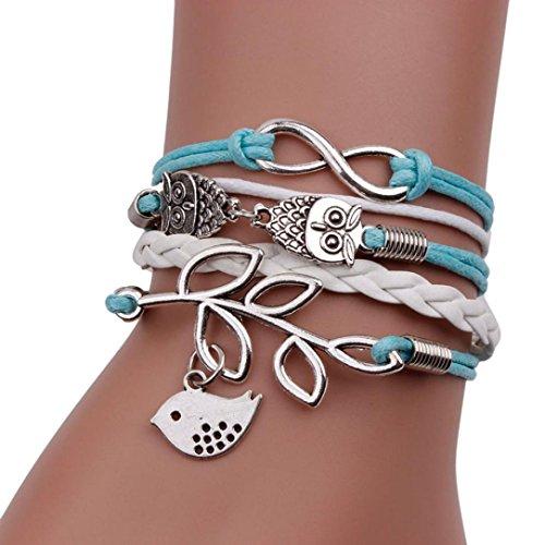 [METFIT Vintage Handmade Infinity Silver Owl Leaf Bird Leather Bracelet Wristband 2017] (1980s Costume Jewellery)