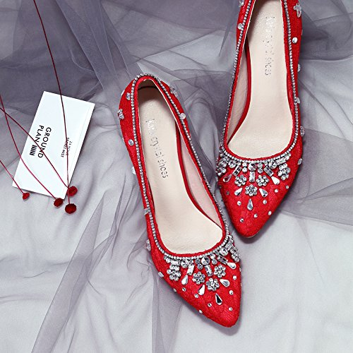 Single White Bride Diamond Shoes Women VIVIOO Shoe Big Low Red Heel Female Shoes High Prom Heel Red Heel Shoes Wedding 9 Sandals Size 8Cm Super Heel OOAXwT