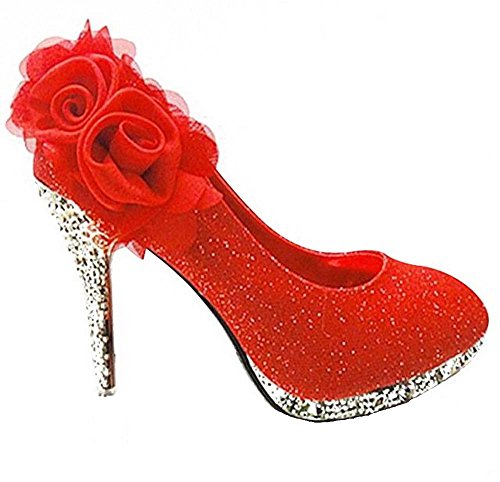 VogueZone009 Women's Sequins Trendy Cone Heel Pull On Pumps Shoes with Flowers, Red(2FHX), 39 ()