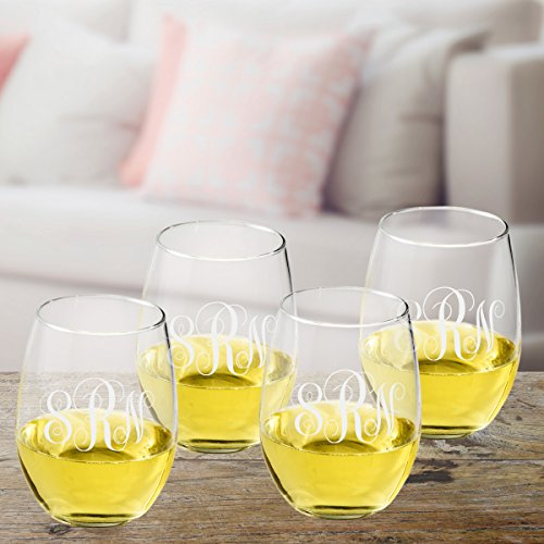 Personalized Stemless White Wine Glass Set of 4 - Monogrammed Wine Glass Set (Wine Personalized Monogrammed)